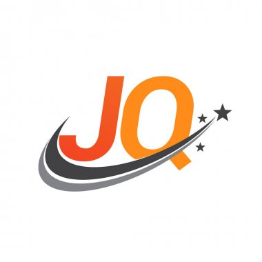 Initial letter JQ logotype company name colored orange and grey swoosh star design. vector logo for business and company identity. icon