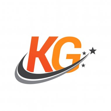 Initial letter KG logotype company name colored orange and grey swoosh star design. vector logo for business and company identity. icon