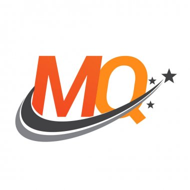 Initial letter MQ logotype company name colored orange and grey swoosh star design. vector logo for business and company identity. icon