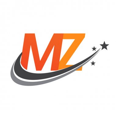 Initial letter MZ logotype company name colored orange and grey swoosh star design. vector logo for business and company identity. icon