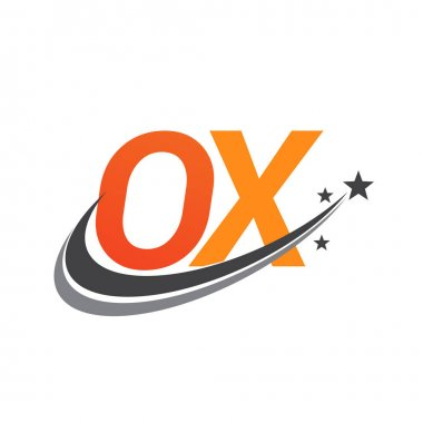 Initial letter OX logotype company name colored orange and grey swoosh star design. vector logo for business and company identity. icon