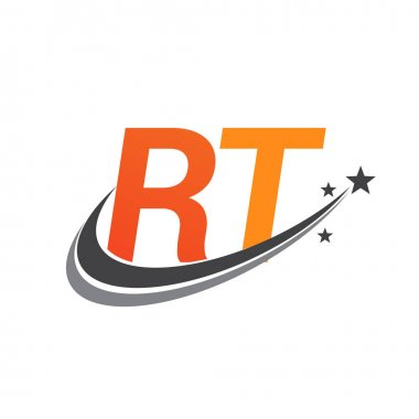 Initial letter RT logotype company name colored orange and grey swoosh star design. vector logo for business and company identity. icon
