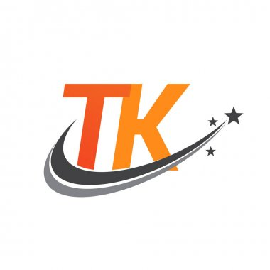 Initial letter TK logotype company name colored orange and grey swoosh star design. vector logo for business and company identity. icon