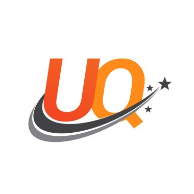 Initial letter UQ logotype company name colored orange and grey swoosh star design. vector logo for business and company identity. icon