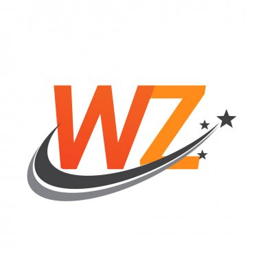 Initial letter WZ logotype company name colored orange and grey swoosh star design. vector logo for business and company identity. icon