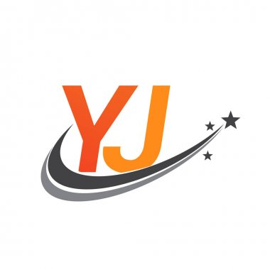 Initial letter YJ logotype company name colored orange and grey swoosh star design. vector logo for business and company identity. icon