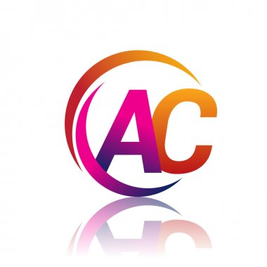 Initial letter AC logotype company name orange and magenta color on circle and swoosh design. vector logo for business and company identity. icon