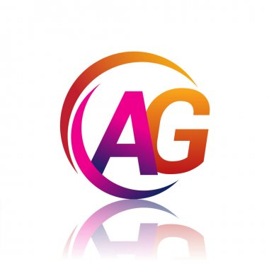 Initial letter AG logotype company name orange and magenta color on circle and swoosh design. vector logo for business and company identity. icon