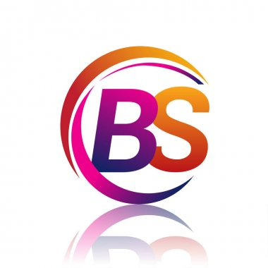 Initial letter BS logotype company name orange and magenta color on circle and swoosh design. vector logo for business and company identity. icon