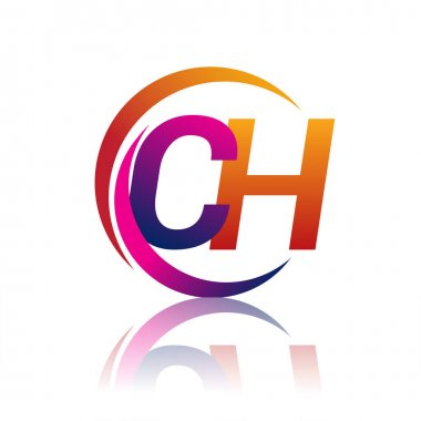 Initial letter CH logotype company name orange and magenta color on circle and swoosh design. vector logo for business and company identity. icon