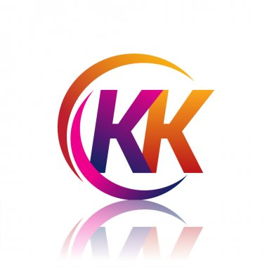 Initial letter KK logotype company name orange and magenta color on circle and swoosh design. vector logo for business and company identity. icon