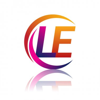 Initial letter LE logotype company name orange and magenta color on circle and swoosh design. vector logo for business and company identity. icon