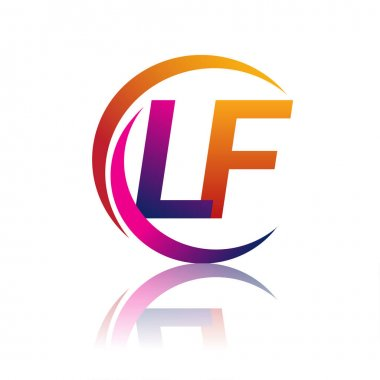 Initial letter LF logotype company name orange and magenta color on circle and swoosh design. vector logo for business and company identity. icon