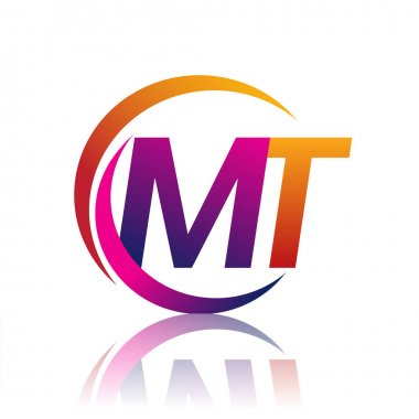 Initial letter MT logotype company name orange and magenta color on circle and swoosh design. vector logo for business and company identity. icon