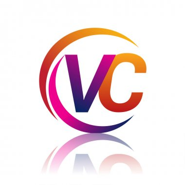 Initial letter VC logotype company name orange and magenta color on circle and swoosh design. vector logo for business and company identity. icon