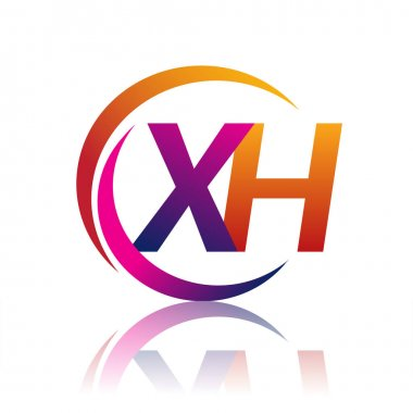 Initial letter XH logotype company name orange and magenta color on circle and swoosh design. vector logo for business and company identity. icon