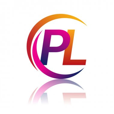 Initial letter PL logotype company name orange and magenta color on circle and swoosh design. vector logo for business and company identity. icon