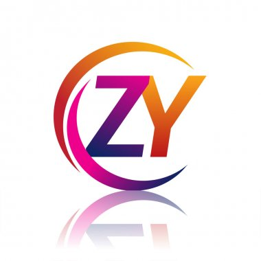 Initial letter ZY logotype company name orange and magenta color on circle and swoosh design. vector logo for business and company identity. icon
