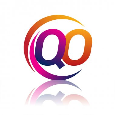 Initial letter QO logotype company name orange and magenta color on circle and swoosh design. vector logo for business and company identity. icon