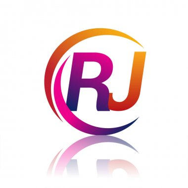 Initial letter RJ logotype company name orange and magenta color on circle and swoosh design. vector logo for business and company identity. icon