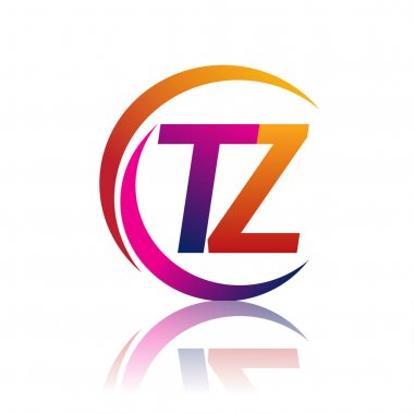 Initial letter TZ logotype company name orange and magenta color on circle and swoosh design. vector logo for business and company identity. icon