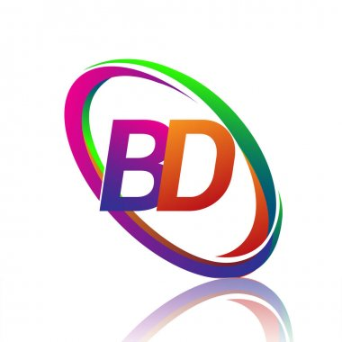 Letter BD logotype design for company name colorful swoosh. vector logo for business and company identity. icon