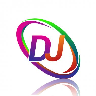 Letter DJ logotype design for company name colorful swoosh. vector logo for business and company identity. icon