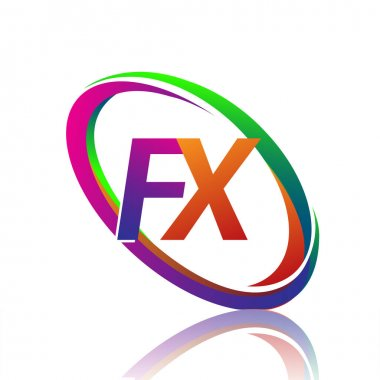 Letter FX logotype design for company name colorful swoosh. vector logo for business and company identity. icon