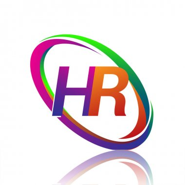 Letter HR logotype design for company name colorful swoosh. vector logo for business and company identity. icon