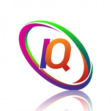 Letter IQ logotype design for company name colorful swoosh. vector logo for business and company identity. icon