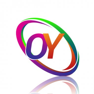 Letter OY logotype design for company name colorful swoosh. vector logo for business and company identity. icon