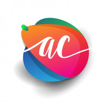 Letter AC logo with colorful splash background, letter combination logo design for creative industry, web, business and company. icon
