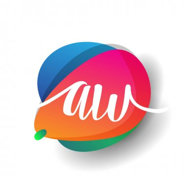 Letter AW logo with colorful splash background, letter combination logo design for creative industry, web, business and company. icon