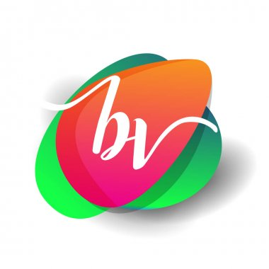 Letter BV logo with colorful splash background, letter combination logo design for creative industry, web, business and company. icon