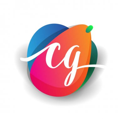 Letter CG logo with colorful splash background, letter combination logo design for creative industry, web, business and company. icon