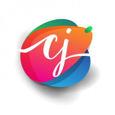 Letter CJ logo with colorful splash background, letter combination logo design for creative industry, web, business and company. icon