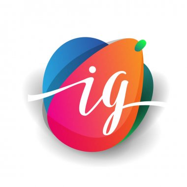 Letter IG logo with colorful splash background, letter combination logo design for creative industry, web, business and company. icon