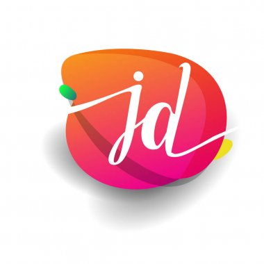 Letter JD logo with colorful splash background, letter combination logo design for creative industry, web, business and company. icon