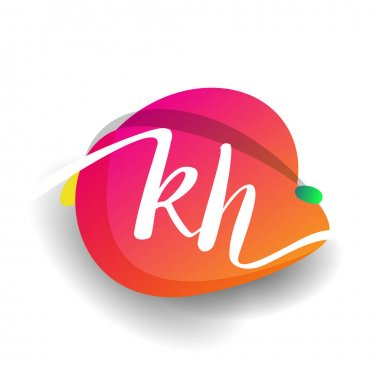 Letter KH logo with colorful splash background, letter combination logo design for creative industry, web, business and company. icon