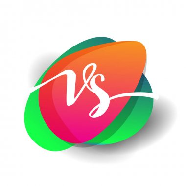 Letter VS logo with colorful splash background, letter combination logo design for creative industry, web, business and company. icon