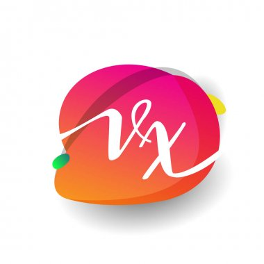 Letter VX logo with colorful splash background, letter combination logo design for creative industry, web, business and company. icon