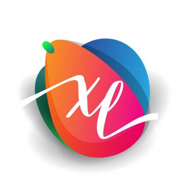 Letter XL logo with colorful splash background, letter combination logo design for creative industry, web, business and company. icon