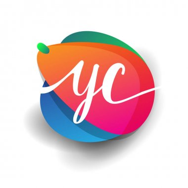 Letter YC logo with colorful splash background, letter combination logo design for creative industry, web, business and company. icon