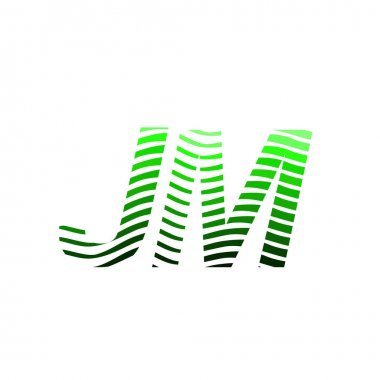 Letter JM logotype with colorful circle, with striped composition letter, business card for company identity, creative industry, web. icon