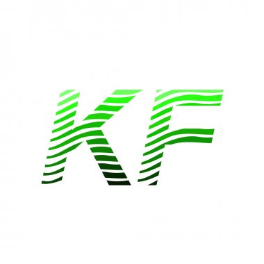 Letter KF logotype with colorful circle, with striped composition letter, business card for company identity, creative industry, web. icon