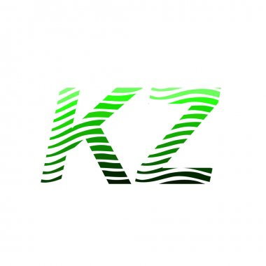 Letter KZ logotype with colorful circle, with striped composition letter, business card for company identity, creative industry, web. icon
