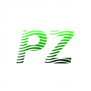 Letter PZ logotype with colorful circle, with striped composition letter, business card for company identity, creative industry, web. icon