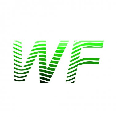Letter WF logotype with colorful circle, with striped composition letter, business card for company identity, creative industry, web. icon
