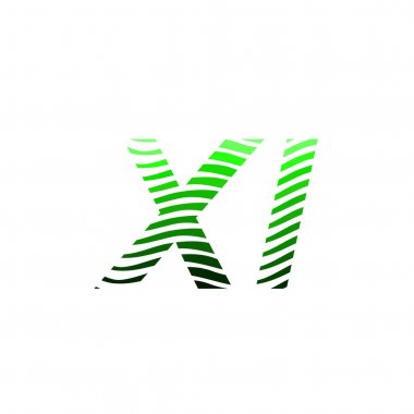 Letter XI logotype with colorful circle, with striped composition letter, business card for company identity, creative industry, web. icon