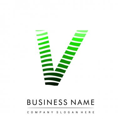 Letter V logotype with colorful circle, with striped composition letter, business card for company identity, creative industry, web. icon